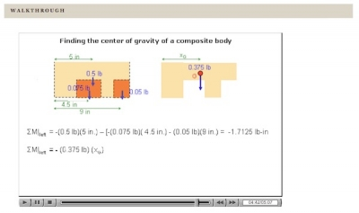 A screen capture of a walkthrough video. In the walkthrough a narrator describes the steps in determining the center of gravity for a composite body, while illustrations of the body's composition are highlighted and their measurements are labeled.