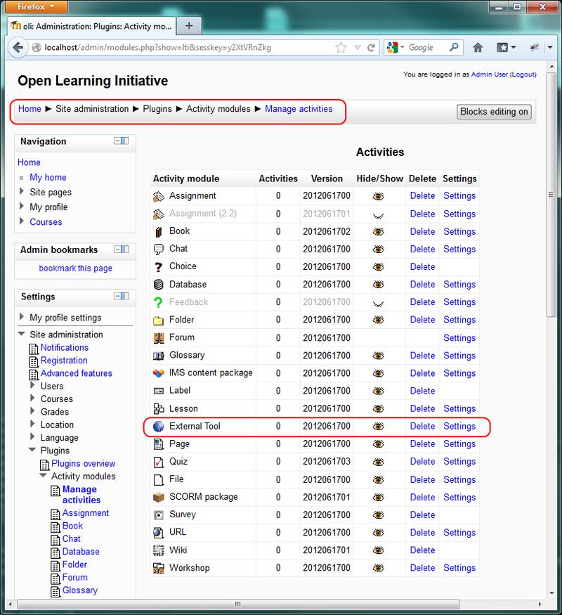 Moodle Integration Instructions - OLI