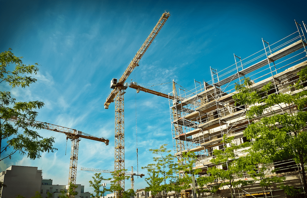 cranes and the frame of a large building under construction, with trees in the foreground