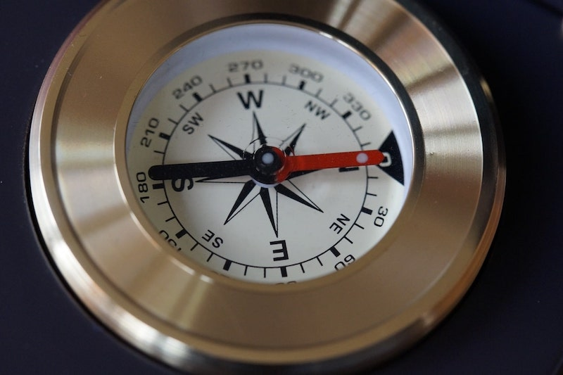 a compass pointing north